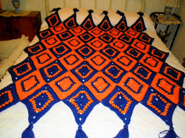 Gator Orange & Blue Afghan
