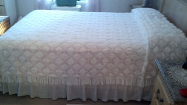 White Afghan Bedspread with lace trim