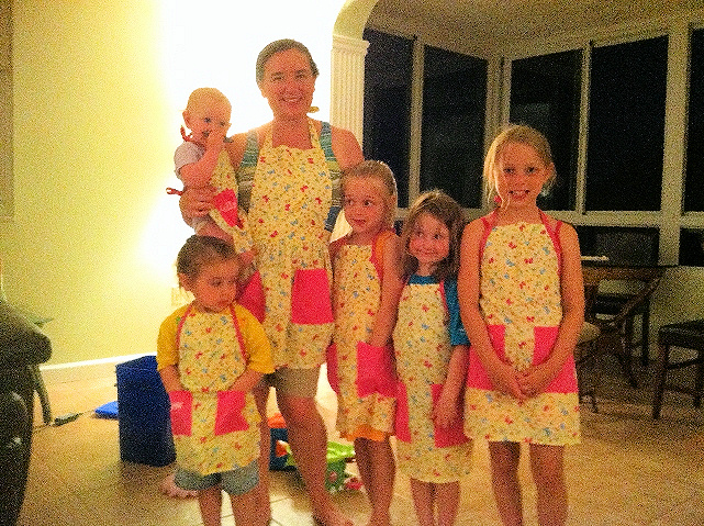 Mother and Daughter's Butterfly Matching Aprons with Monogramed Names