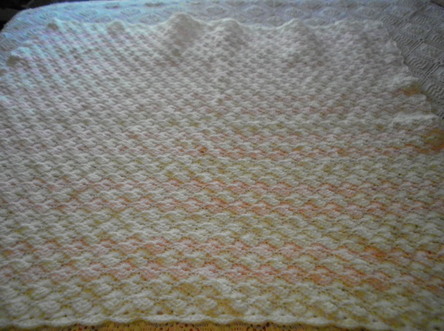 Pink & White Crocheted Shell Blanket