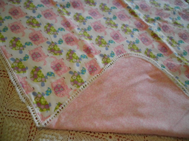 Pink Elephant & Green Turtle Flannel Blanket