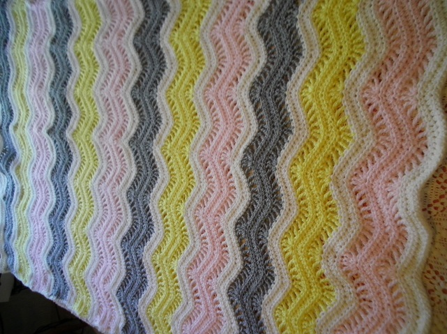 Pink, Yellow & Gray Crocheted Blanket
