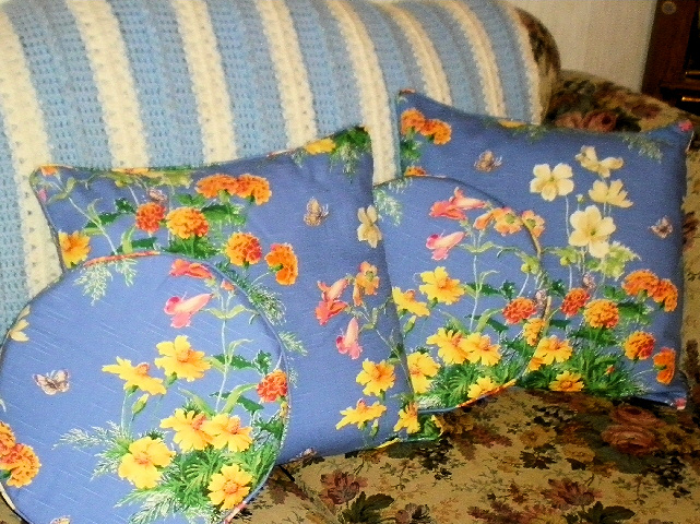 Blue Pillows with Yellow Flowers
