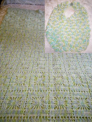 Matching Green & Blue Crocheted Blanket & Bib