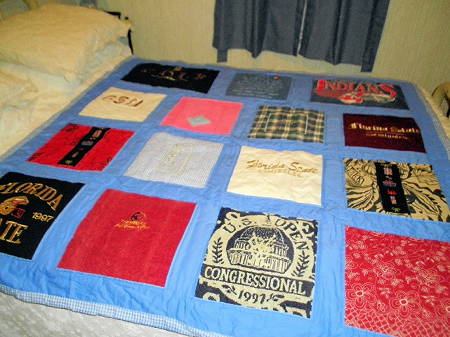 Memory Quilt - This quilt was made for the memories of a deceased love one.  It is made from  items that were commonly worn or associated with the loved ones.