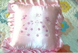 Pink Pillow Hand Embroidered Various Styles and Colors