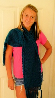 Teal Crocheted Scarf