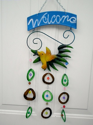 Yellow Bird with Brown & Green Rings - Glass Wind Chimes