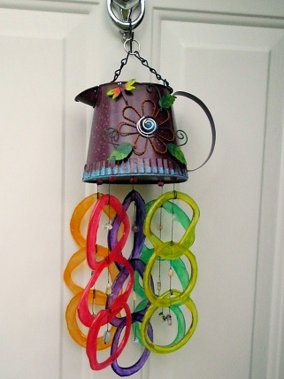 Purple Watering Can with Multi Colored Rings - Glass Wind Chimes