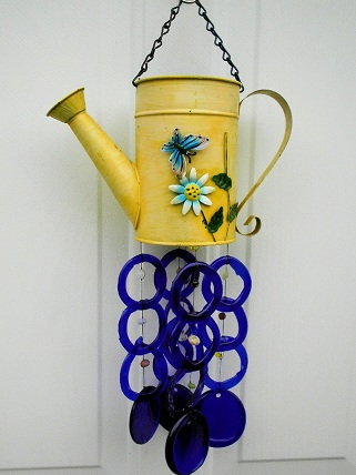 Yellow Watering Can with Blue Rings - Glass Wind Chimes