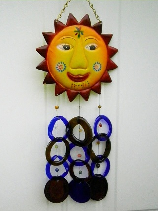 Sun Face with Brown & Blue Rings - Glass Wind Chimes