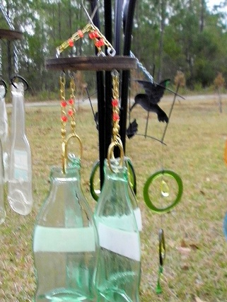 Coke Bottles with Red Beads Wind Chimes