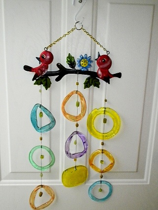Made for Theresa - Red Birds with Colored Rings Wind Chimes