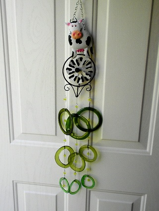 Cow with Green Rings Glass Wind Chimes