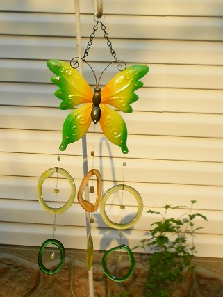 Yellow & Green Butterfly with Colored Rings Glass Wind Chimes