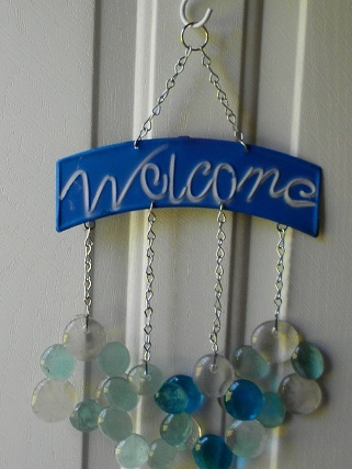 Welcome with Blue & White Marble Glass Wind Chimes
