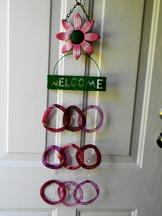 Pink Welcome with Colored Rings - Glass Wind Chimes