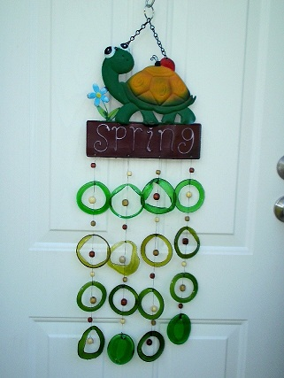 Turtle Spring with Green Rings - Glass Wind Chimes