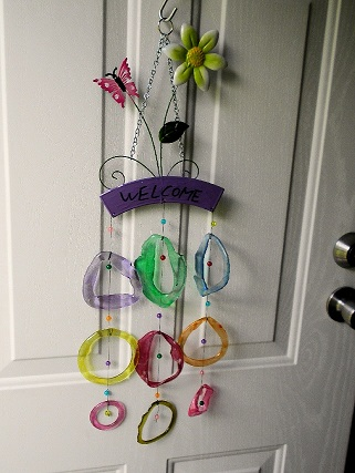 Welcome - Pink Butterfly with Colored Rings - Glass Wind Chimes