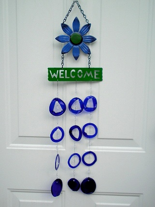 Blue Flower Welcome with Blue Rings - Glass Wind Chimes