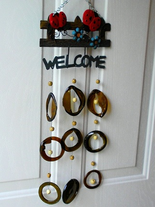 Lady Bug Welcome with Brown Rings - Glass Wind Chimes