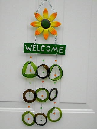Yellow Flower Welcome with Green & Blue Rings - Glass Wind Chimes