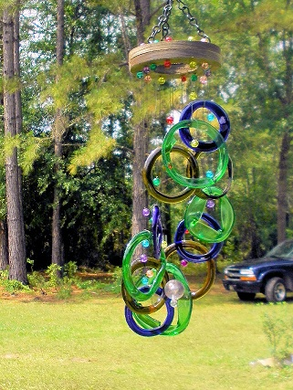 Blue, Green, & Brown Rings - Glass Wind Chimes