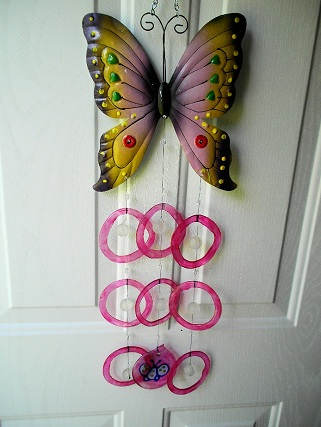 Butterfly with Pink Rings - Glass Wind Chimes