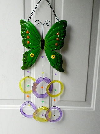 Green Butterfly with Yellow & Purple Rings - Glass Wind Chimes