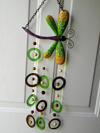 Dragon Fly with Green & Blue Rings - Glass Wind Chimes