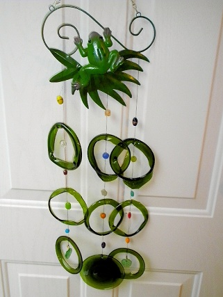 Frog with Green Rings - Glass Wind Chimes