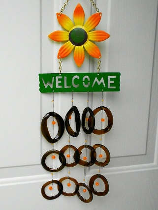 Welcome with Orange Flower & Brown Rings & Orange Beads - Glass Wind Chimes