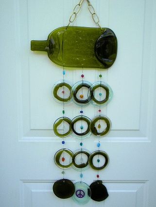 Rhondas Green Wine Bottle with Green & Clear Rings - Glass Wind Chimes