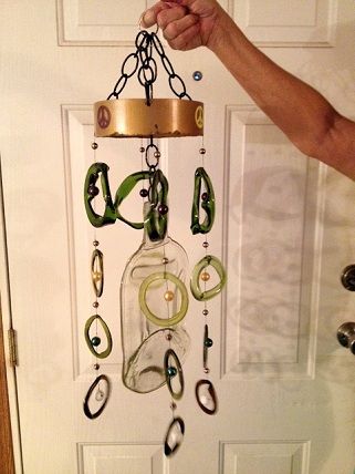 Wine Bottle with Light & Dark Green Rings - Glass Wind Chimes