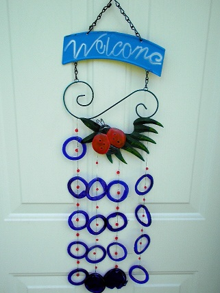 Welcome with Lady Bug & Blue Rings - Glass Wind Chimes