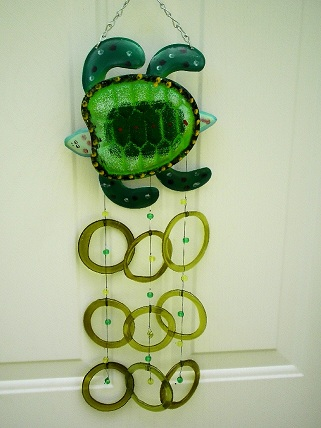 Turtle with Green Rings - Glass Wind Chimes