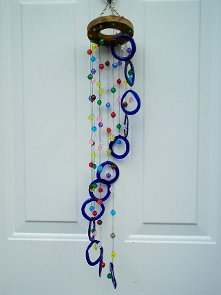 Spiral with Blue Rings & Beads - Glass Wind Chimes