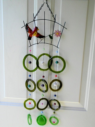 Red Bird with Green Rings - Glass Wind Chimes