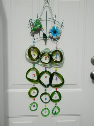 Green Humming Bird with Green Rings & Beads - Glass Wind Chimes