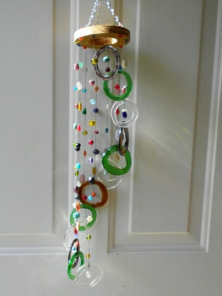 Spiral with Green, Brown & Clear Rings & Beads - Glass Wind Chimes