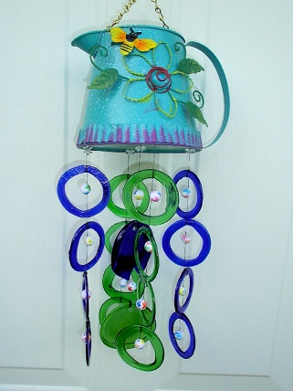 Water Can with Blue & Green Rings - Glass Wind Chimes