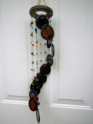 Spiral with Brown Bottle Bottoms - Glass Wind Chimes
