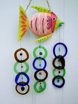 Pink Fish with Multi Colored Rings - Glass Wind Chimes