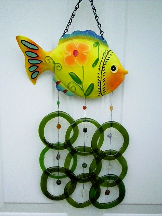 Yellow Fish with Green Rings - Glass Wind Chimes
