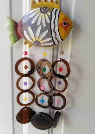 Fish with Brown Rings - Glass Wind Chimes