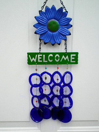 Welcome Blue Flower with Blue Rings - Glass Wind Chimes
