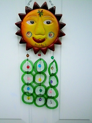 Sunface with Green Rings - Glass Wind Chimes