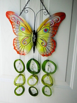 Butterfly with Crystals & Green Rings - Glass Wind Chimes