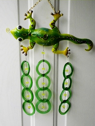 Green Geico with Green Rings - Glass Wind Chimes