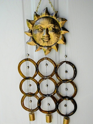 Gold Sunface with Brown Rings - Glass Wind Chimes